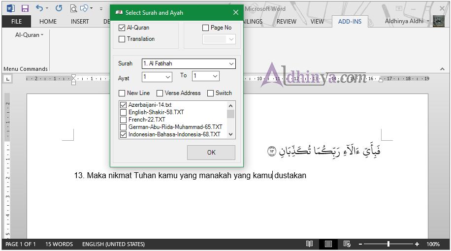 Download Quran in Ms Word Support 2013 dan 2016 Terbaru