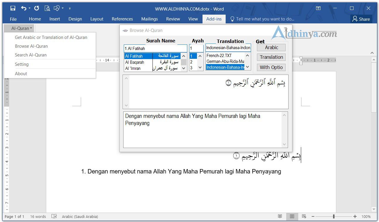 Download Quran in Word 2003, 2007, 2010, 2013, 2016 Terbaru